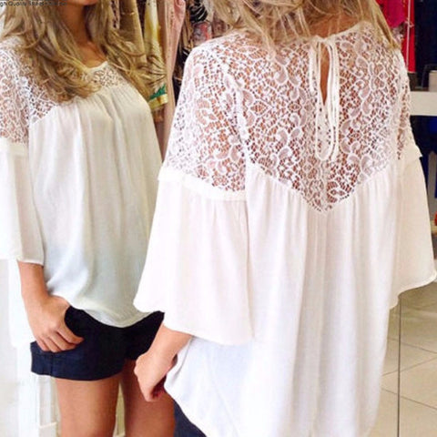 Chiffon Patchwork Lace Oversized Blouse