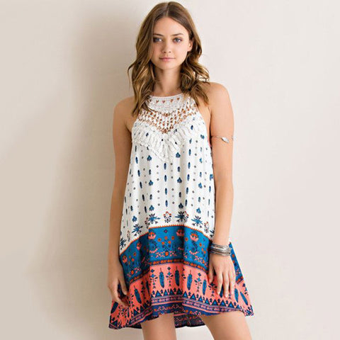 A-Line Printed Halter Dress