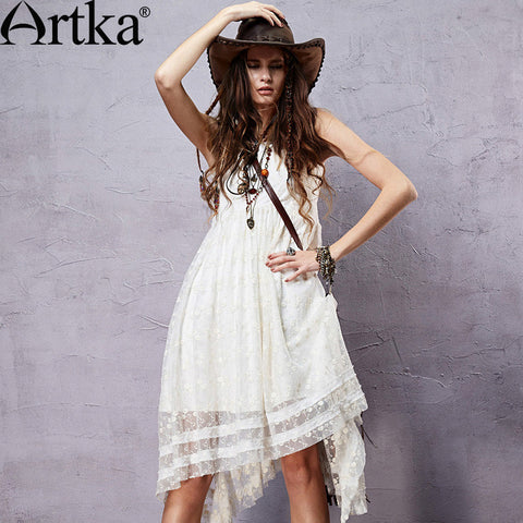 Bohemian Style Embroidery Irregular Hem Dress