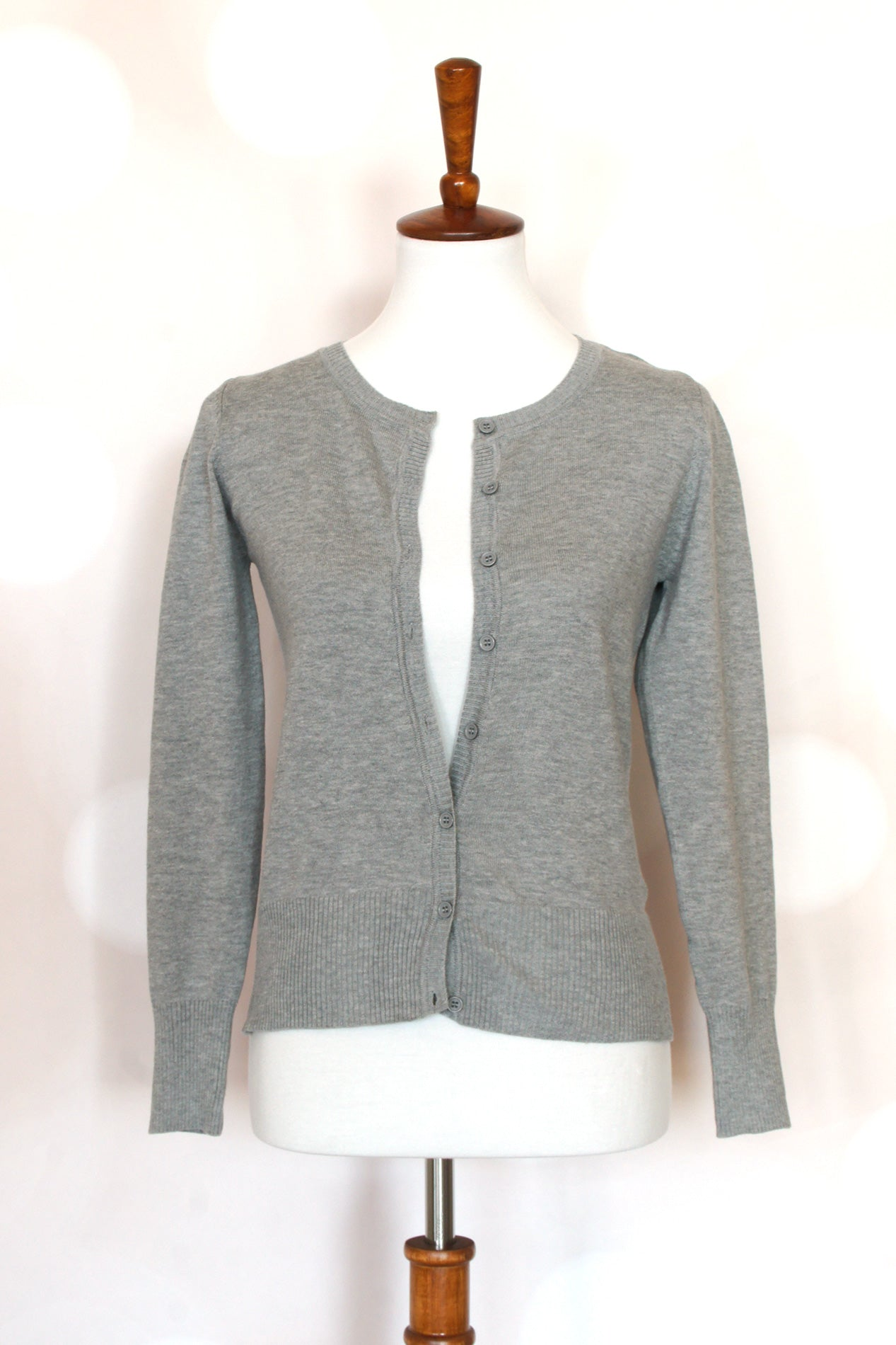 Crew Neck Cardigan Sweater - Grandir Fashions