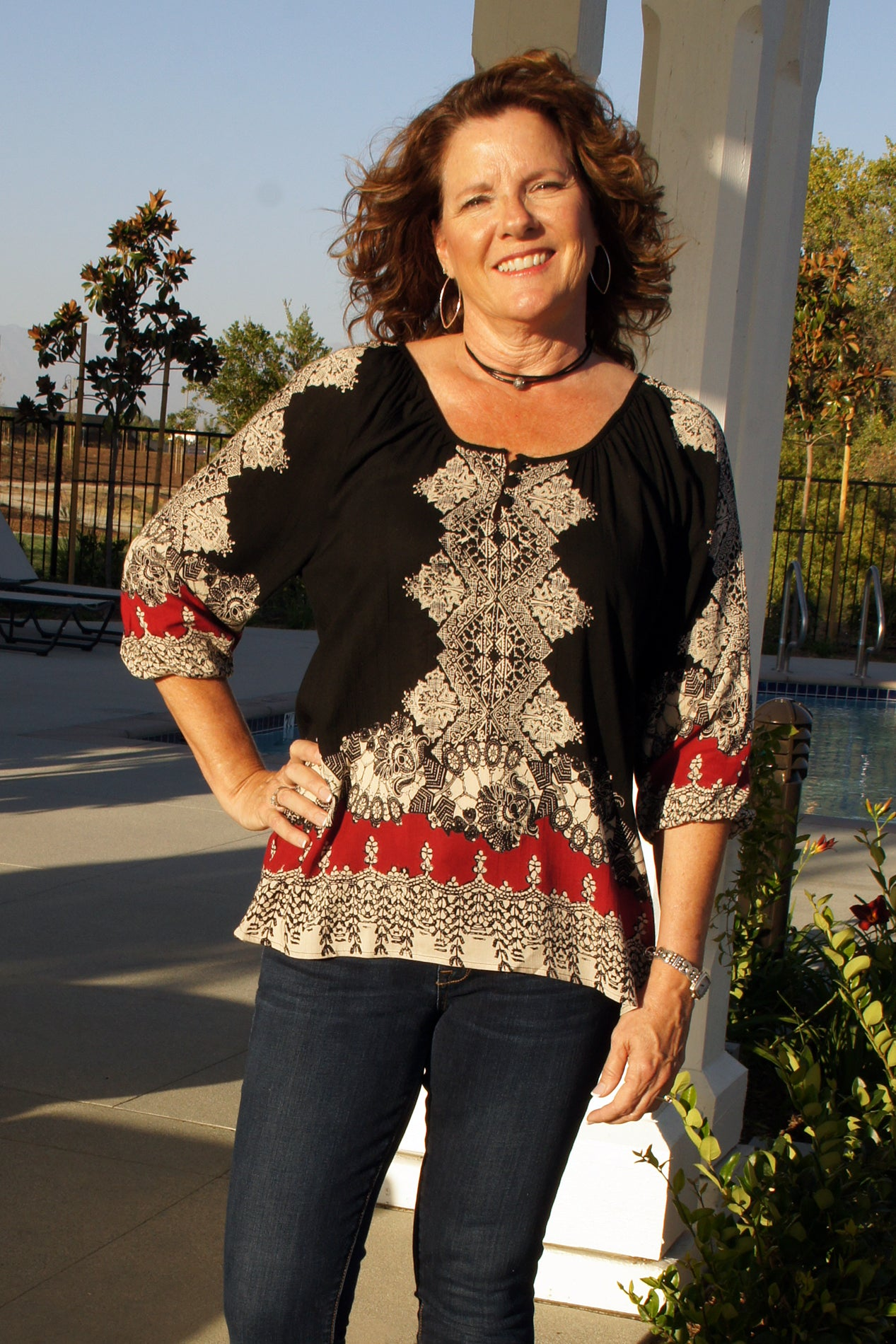 Black & Red Print Blouse - Grandir Fashions