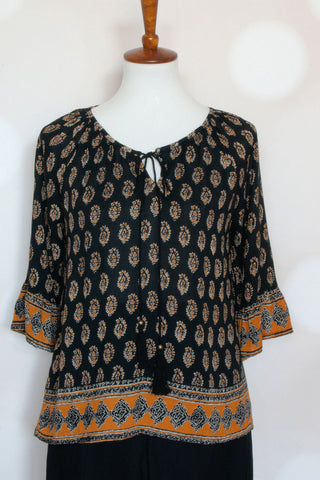 Mock Neck Black Printed Top