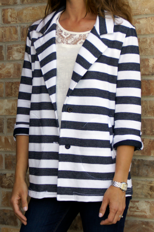 Navy Striped Boyfriend Jacket - Grandir Fashions