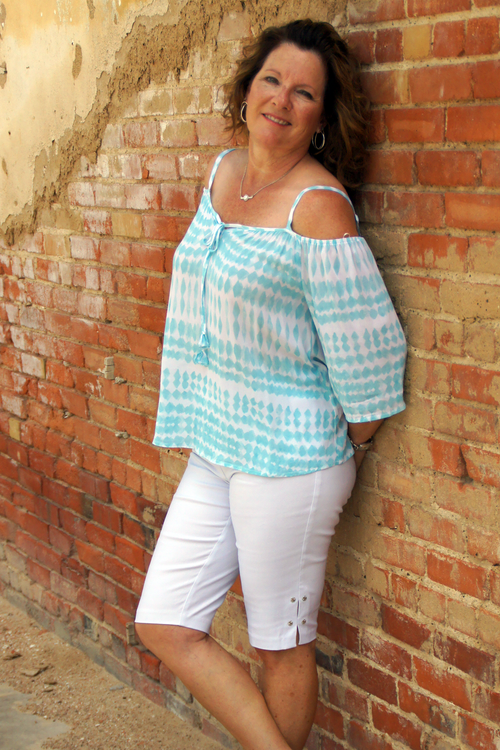 Teal Cold Shoulder Top - Grandir Fashions