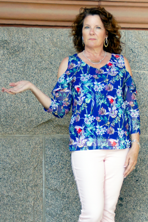 Floral Cold Shoulder Top - Grandir Fashions