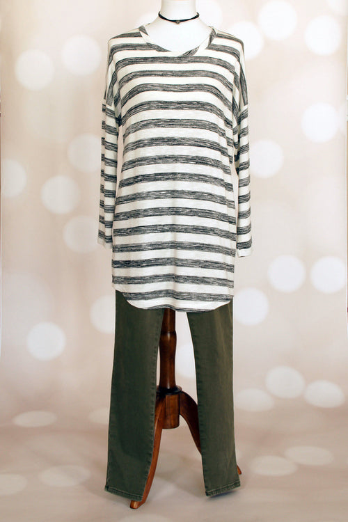 Drop Shoulder Striped Tunic - Grandir Fashions