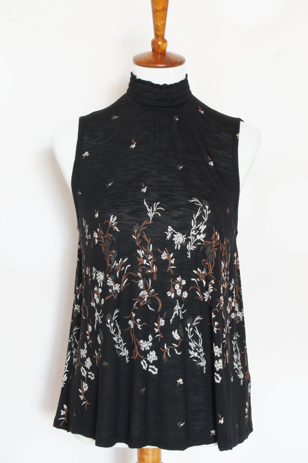 Mock Neck Black Printed Top - Grandir Fashions