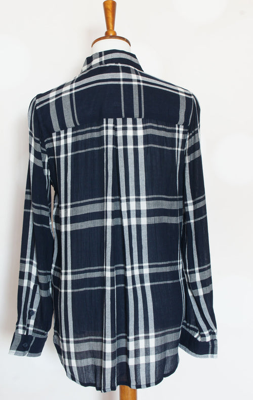 Lucky Brand Navy Blue Plaid Button Up Shirt - Grandir Fashions
