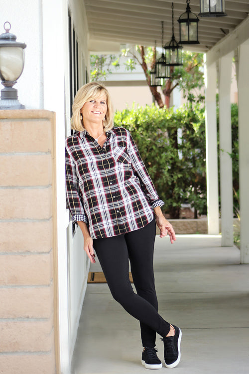 Printed Plaid Shirt and Leggings with Leg Detail - Grandir Fashions