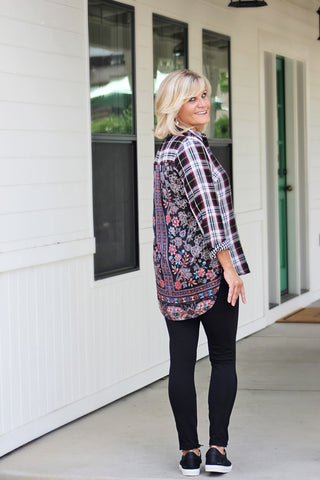 Black & Red Print Blouse