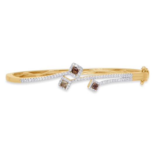 Yellow Gold White and Natural Colored Diamonds Eternal Bangle