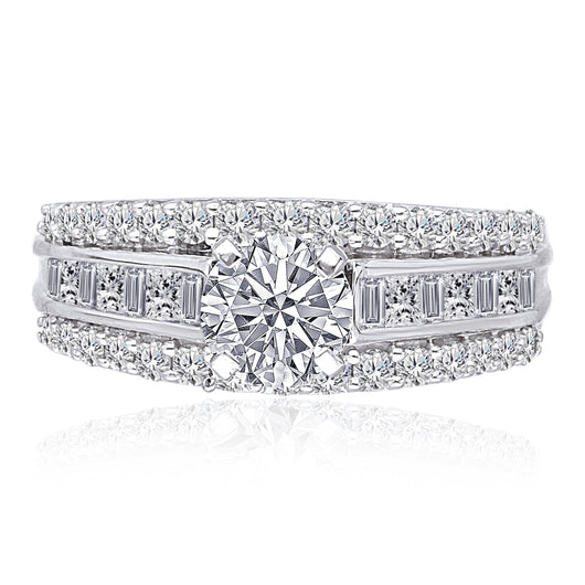 Kallati Legendary Round  Diamond Engagement Ring in 14K White Gold