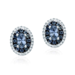White Gold Sapphire & Diamond Infinite Earring