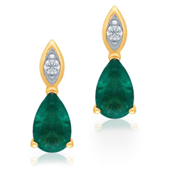 Yellow Gold Emerald & Diamond Heirloom Earrings