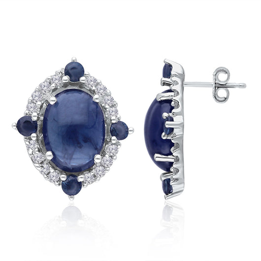 White Gold Sapphire & Diamond Heirloom Earrings