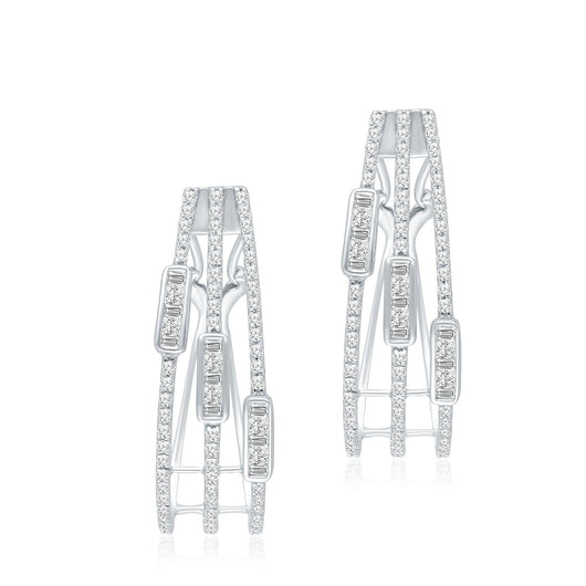 White Gold White Diamond Legendary Hoop Earrings