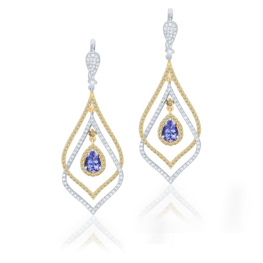 Two Tone Gold Tanzanite with White & Yellow Diamond Renaissance Earrings