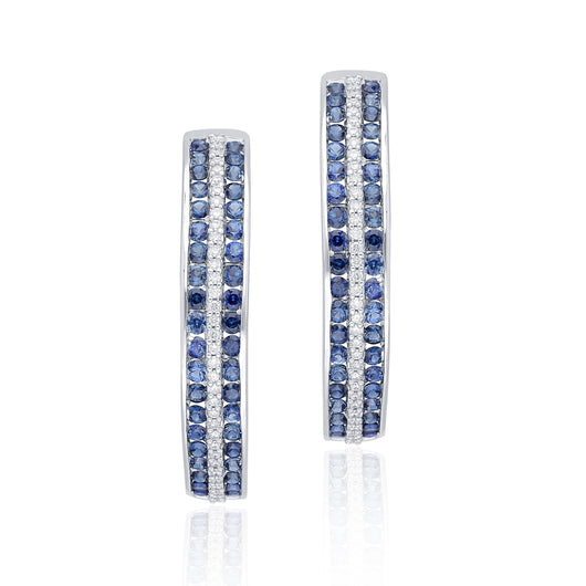 White Gold Sapphire & Diamond Infinite Hoop Earring