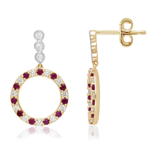 Yellow Gold Ruby  & White Diamonds Heirloom Earrings