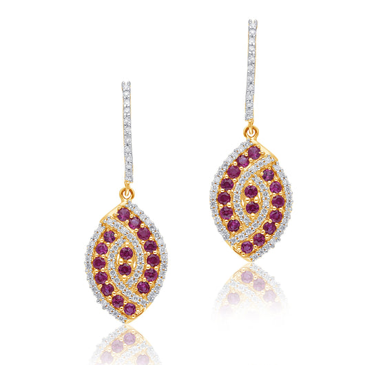 Yellow Gold Ruby & Diamond Infinite Earrings