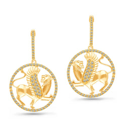 Yellow Gold White Diamond Griffiness Earrings