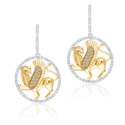 Two Tone Gold White & Yellow Diamond Griffiness Earrings