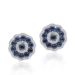 White Gold Sapphire & Diamond Infinite Stud Earrings