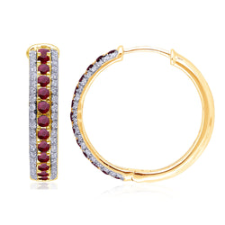 Yellow Gold Ruby & White Diamond Heirloom Earrings