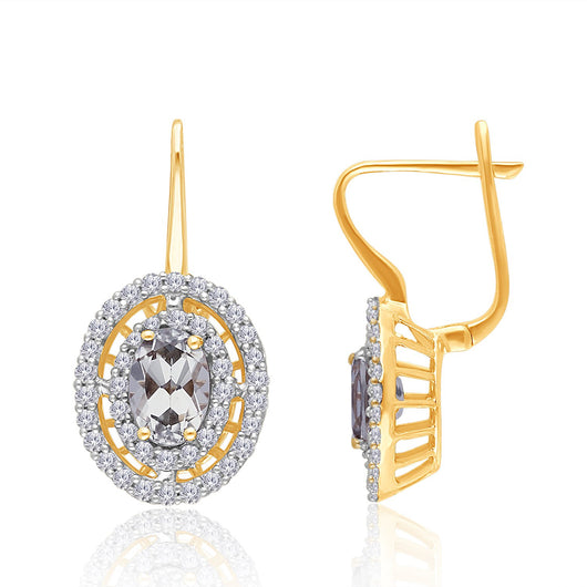 Yellow Gold Csarite & Diamond Heirloom Earrings
