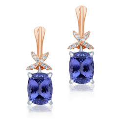 Two Tone Gold Tanzanite & Diamond Heirloom Earrings