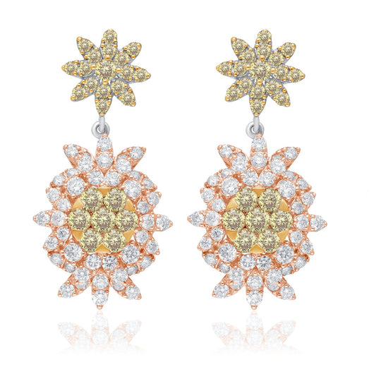 Two Tone Gold Yellow & White Diamond Eternal Earrings