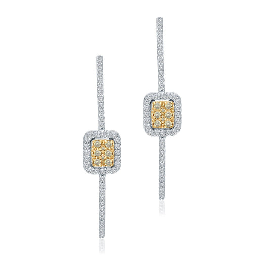 White Gold Yellow & White Diamond Eternal Hoop Earrings
