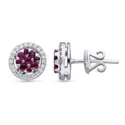 White Gold Ruby & Diamond Heirloom Earrings