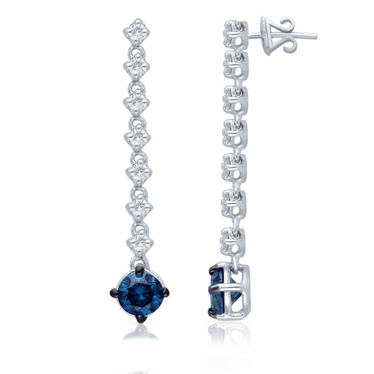 White Gold Blue & White Diamond Eternal Dangle Earrings