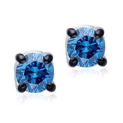 White Gold Blue Diamond Eternal Stud Earrings