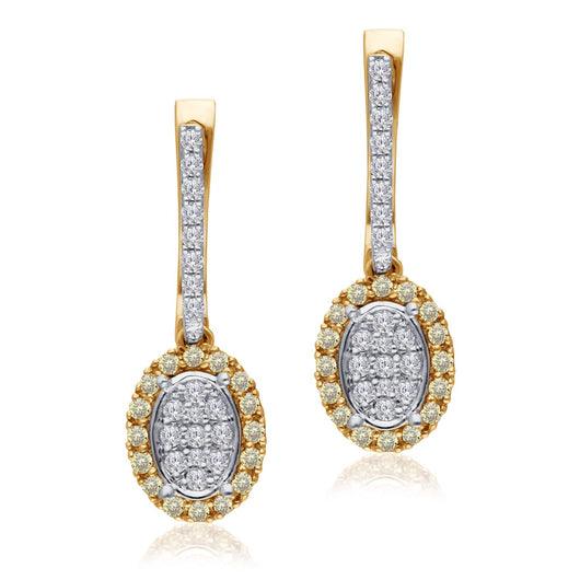 Two Tone Gold Diamond Eternal Earrings