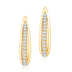 Two Tone Diamond Eternal Huggie Earrings