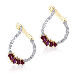 Yellow  Gold Ruby & Diamond Heirloom Earrings