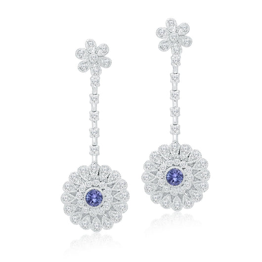 White Gold Tanzanite & Diamond Heirloom Earrings