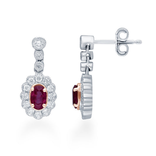 Two Tone Gold Ruby & Diamond Heirloom Earrings