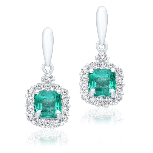 White Gold Columbian Emerald & Diamond Heirloom Earrings