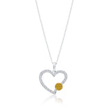 White Gold Yellow And White Diamond Eternal Heart Pendant