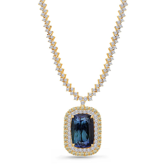Yellow Gold Non Heat Tanzanite with White & Fancy Diamond Renaissance Necklace