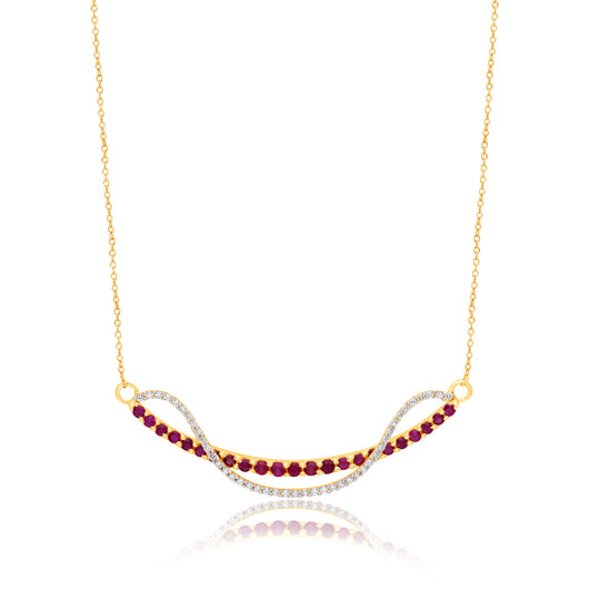 Yellow Gold Ruby & Diamond Infinite Necklace
