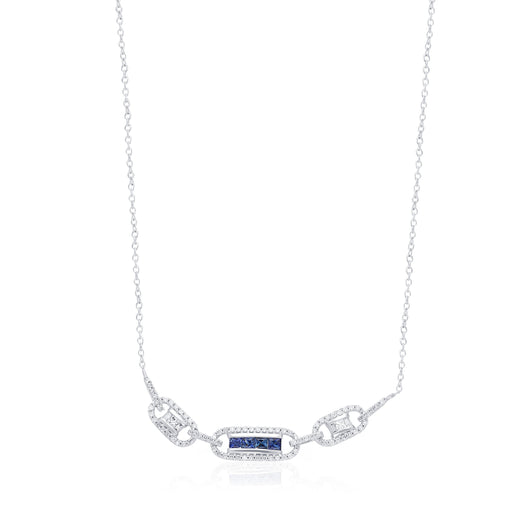 White Gold Sapphire & Diamond Infinite Necklace