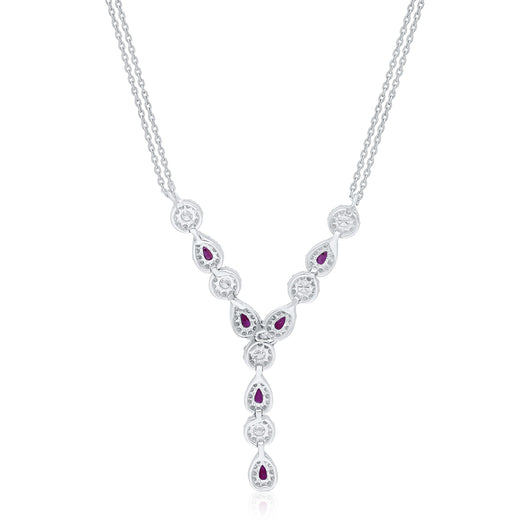 White Gold Ruby & Diamond Heirloom Necklace