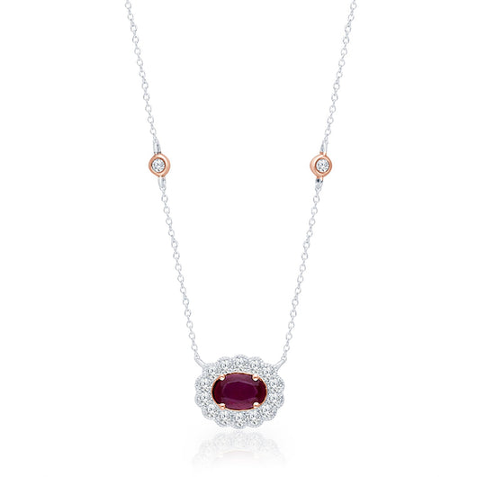 Two Tone Gold Ruby & Diamond Heirloom Necklace