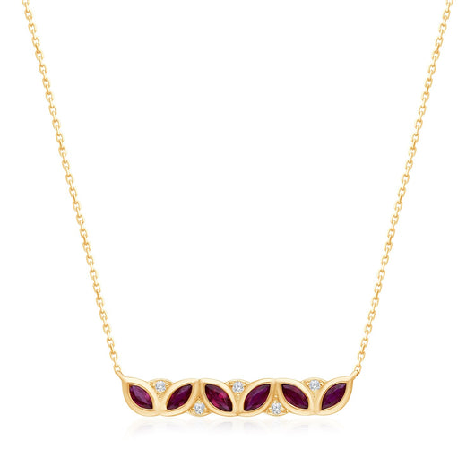 Yellow Gold Ruby & Diamond Heirloom Necklace
