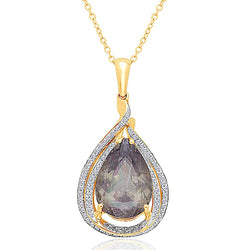 Yellow Gold Certified Csarite & Diamond Heirloom Pendant