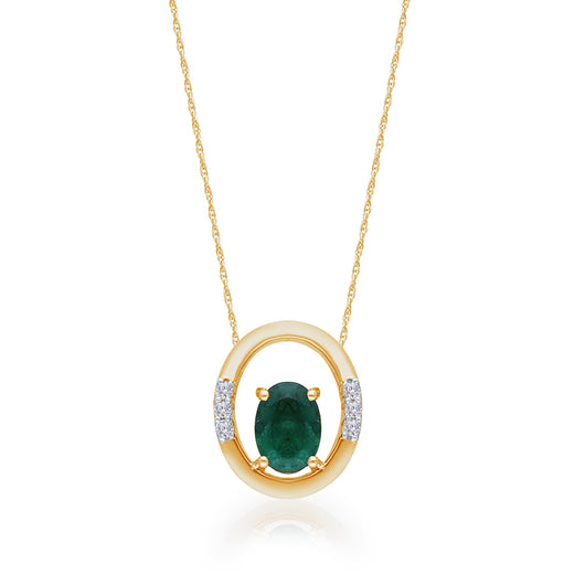 Yellow Gold Emerald & Diamond Heirloom Pendant